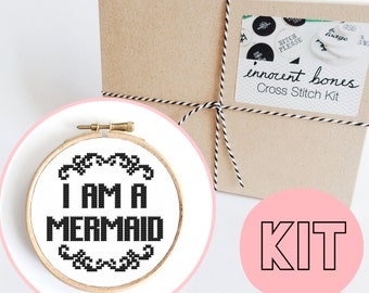 I Am A Mermaid Modern Cross Stitch Kit - easy chart design guide & supplies- mermaid magical design - embroidery kit bad taste popculture