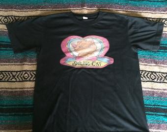 Vintage Smiling Cat Black T-Shirt