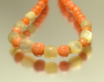 Antique vintage, Victorian / Edwardian, real salmon coral and mother of pearl bead necklace - jewellery jewelry