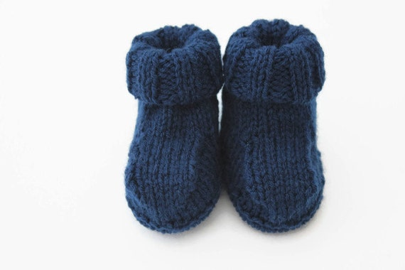 Knit baby booties | baby boy gift | blue boots | knitted infant shoes