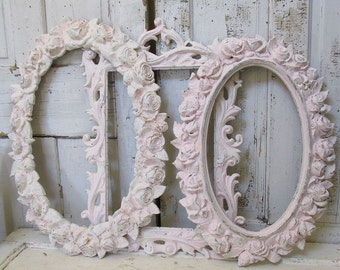 Pink ivory painted frame grouping romantic vintage ornate frames milky distressed chippy paint wall hanging home decor anita spero design