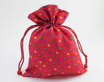 10 Small Drawstring Bag   Red Polka Dot Drawstring Pouch, Reusable Fabric Pouch, Goodie Bag, Favor Bag, Gift Bag, Packaging