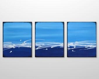 Original Triptych Abstract Ocean Painting - Acrylic Canvas Modern Beach Wall Art - Blue White Minimalist Seascape Art by Gillian Sarah