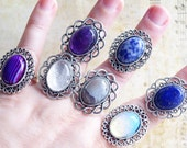 Antique Silver Ring Art Deco Gemstone Stone Ring Agate Quartz Opaline Amethyste Lapis Lazuli Ring for her Ajustable