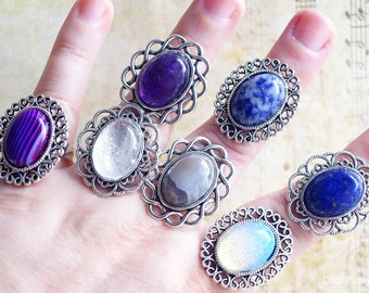 Antique Silver Ring Art Deco Gemstone Stone Ring Agate Quartz Opaline Amethyste Lapis Lazuli Ring for her Ajustable