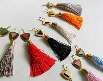 Silk Tassel Brass Charm, Luxury Tassels 10mm/ 4 inches, Jewelry Making Tassels,  Handmade Tassels