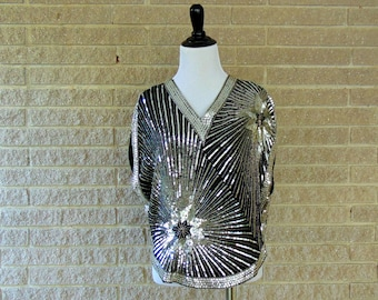 Vintage Sequined Shirt | 1980s | Black & Silver Starburst Top | Medium