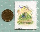 "Original Miniature Painting ""BIRD'S EYE VIEW' 1.12th Scale Dollhouse - Sandra Frantz -  Artist"