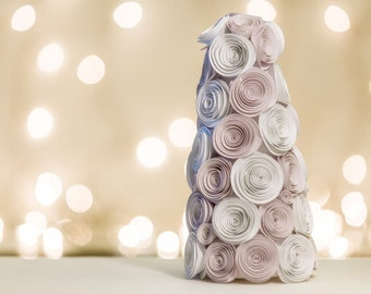Rose Tree, Christmas tree, paper roses, shimmer, white, beautiful