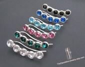 Ear Climbers Earrings, Crystal Ear Climbers, Sterling Silver Earrings, Jewelry, Gift, Minimalist Earrings