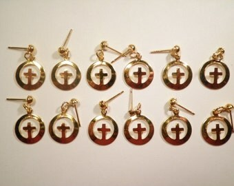 6 Pairs of Goldplated Cross in a Circle Earrings