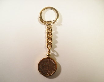 1 Gold Plated Nickel Coin Bezel Coin Holder Key Chain With Nickel Included