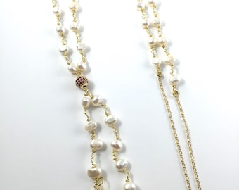 Pearl rosary link long necklace with crystal charm