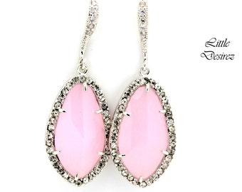 Pastel Pink Earrings Light Pink Earrings Ice Pink Earrings Soft Pink Earrings Cubic Zirconia Wedding Jewelry Bridesmaid Earrings IP40H