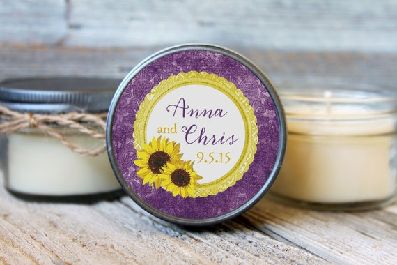 12 - 4 oz Wedding Favor//Sunflower Rustic Favor//Soy Candle Favor//Personalized Bridal Shower Favor//Shower Favor//Candle Favors//