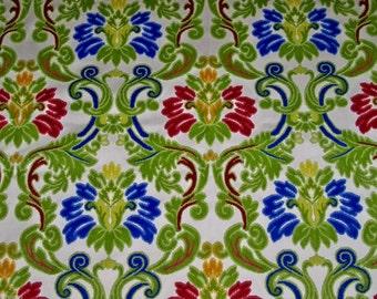 DESIGNER GITANA Italian Cut Velvet Damask Fabric 10 Yards Ruby Sapphire Jade