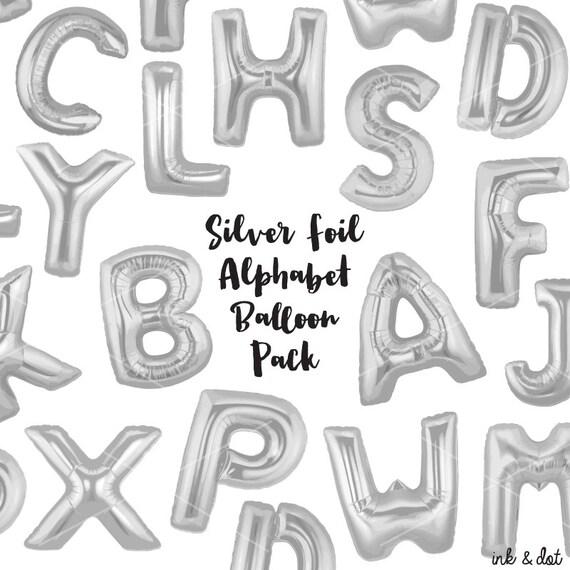Alphabet Foil Silvers: Silver Foil Balloon Letters Clip Art