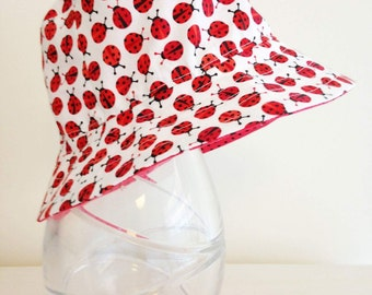 Baby/Girls hat in mini ladybird fabric- summer hat, bucket hat