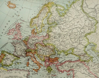 1895 Antique map of EUROPE. France. Germany. Great Britain. Spain. Italy ... 121 years old chart