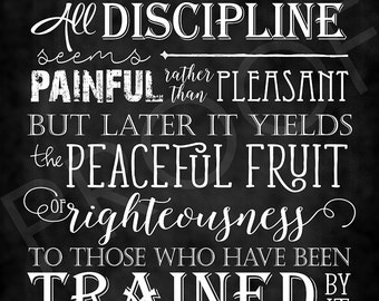 Scripture Art - Hebrews 12:11 ~ Chalkboard Style