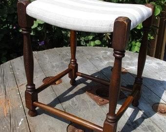 Vintage Upholstered Oak Footstool