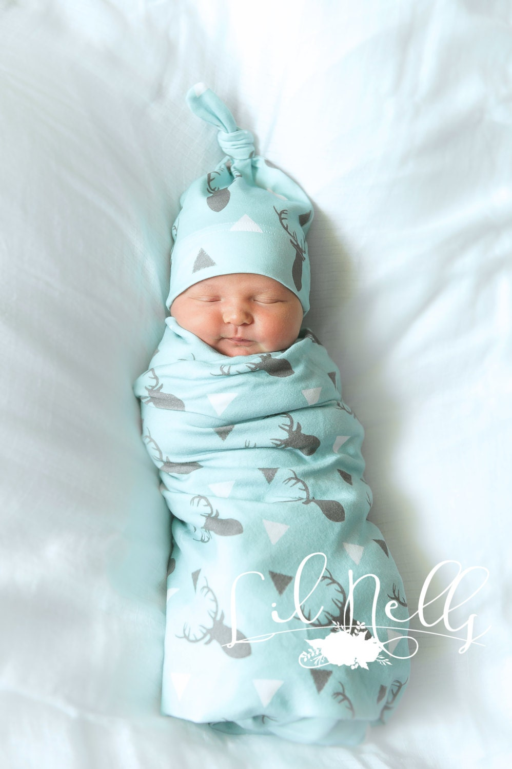 Organic Baby Boy Coming Home Outfit Deer Swaddle And Knot