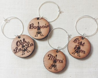 French wooden wine charms, set of 4