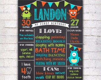 Monsters First Birthday Chalkboard Sign - Printable 1st Birthday Chalkboard Poster - Blue Green Orange Birthday Board - Digital file - 099