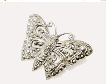 Sterling Brooch Silver Marcasite Butterfly  Art Deco Pin