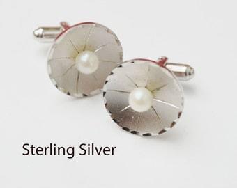 Sterling Silver Pearl  Cuff links round wedding groom cufflinks