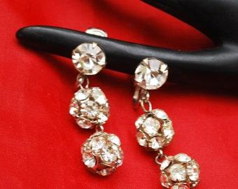 Rhinestone Earrings - Dangle Crystal Ball  - Chandelier Clip on earrings