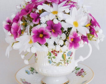 Teacup Silk Flower Arrangement, Fuchsia Forget-me-nots, White Daisies, Vintage Cup & Saucer, Artificial Flower Arrangement, Silk Floral,