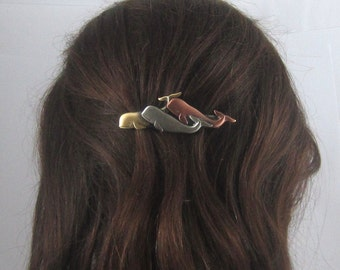 WHALES FRENCH BARRETTE 70mm- Whale Watcher- Whale Lovers Gift- Hair Accessory