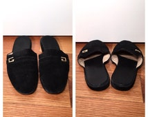 Size 7 Black Gucci Shoes Flat Suede Gucci Women's Slides Black Minimalist Sandals Vintage 1990s Gucci Slippers Flats Slip Ons