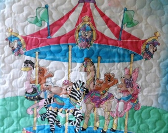 Quilt - Quilted Baby Blanket - Baby Quilt - Gender Neutral Baby Quilt for Boy or Girl - Carousel Time
