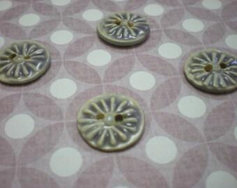 Flower Stamped purple - Set of 4 handmade ceramic buttons