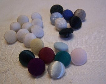 """Assorted Vintage 3/8"""" Silk Covered Buttons, Set of 25 (no. 134)"""