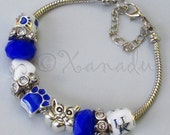 University Of Kentucky European Charm Bracelet With Kentucky Wildcats College Logo And Mascot Beads