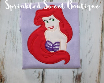 Princess Ariel Little Mermaid Appliqué Girls Monogram Shirt Perfect for a Disney World or Birthday Party Have Courage Be Kind