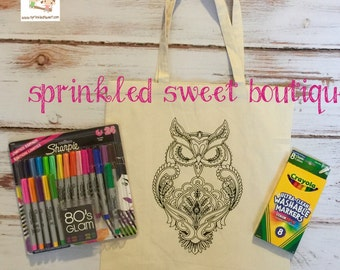 Cool Owl Custom Made Coloring Bag Tote Purse Washable Reuse Perfect Birthday Child Gift Party Favor Can Add Name