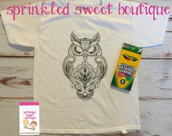 Owl Cool Teen Boys Girls Custom Made Coloring Shirt Washable Reuse Perfect Birthday Child Gift Party Favor Can Add Name