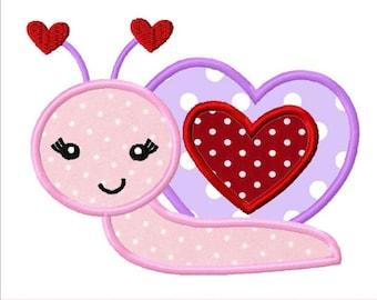 Valentines Day Love Snail Custom Monogram Applique Shirt Girls Boys Baby First Valentines Day Shirt