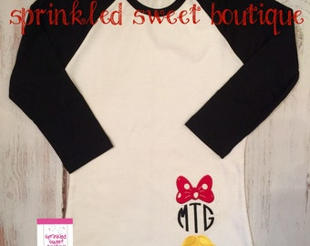 Minnie Inspired Monogram Mouse Bow Shoes Monogram Raglan Baseball Shirt Applique Custom Girls Womens Shirt Family Perfect for a Disney Trip