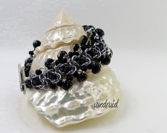 Beaded Chainmail Jewelry, Black and Ice Ladder Byzantine Anodized Aluminum Chainmaille Bracelet with Glass Teardrop Beads