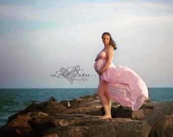 Tara Maternity Gown / Materntiy Dress in Chiffon with Knit Bandeau Top, Maternity Photography Prop, Maternity Prop, Belly Dress,