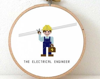 2 x electrical engineer cross stitch pattern. Gift for engineer. Female engineer gift. Electrical engineer gifts. Gift engineering student