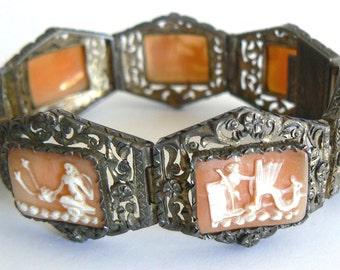 Vintage Art Deco Shell Cameo Silver Bracelet Antique 1800's