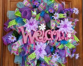 Purple Spring Welcome Wreath Summer Welcome Wreath Spring Flowers Welcome Sign Mesh Wreath