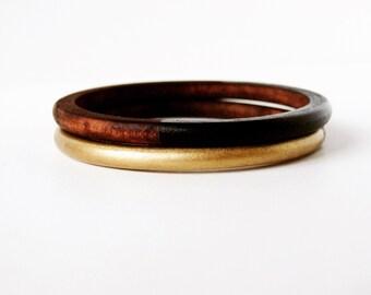 Geometric Skinny Wood bangle Set Gold and Black.