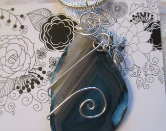 Necklace - Wire wrapped Blue Agate Necklace